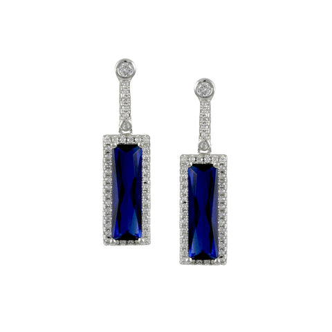 SILVER RECTANGLE SAPPHIRE DROP EARRINGS DIAMOND CZ