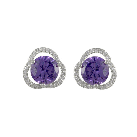 JUSTICE'S<BR>AMETHYST AND DIAMOND STUDS