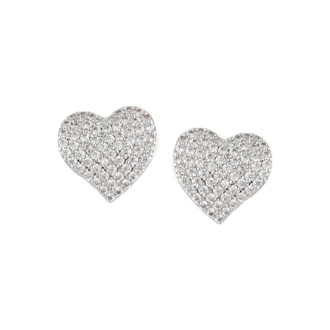 BROOKE'S<BR>CURVED PAVE HEART EARRINGS