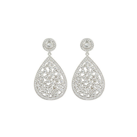 SILVER DIAMOND TEARDROP EARRINGS CLUSTER GLAM FASHION ACCESSORIES
