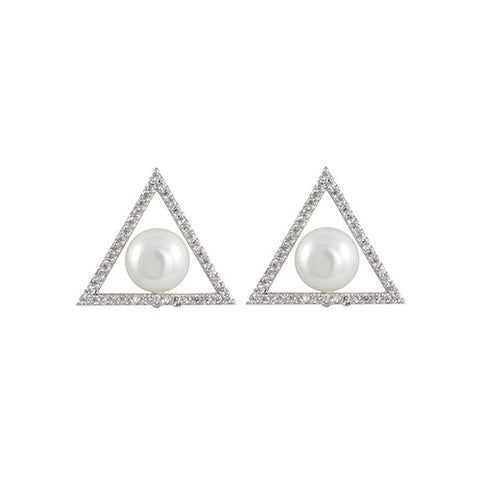 TRIANGLE PEARL STUD EARRINGS CZ DIAMONDS FASHION JEWELRY EARRINGS