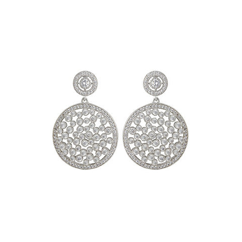 SILVER DIAMOND BUBBLE DROP EARRINGS