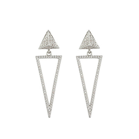 GEOMETRIC TRIANGLE EARRINGS CZ DIAMONDS FASHION JEWELRY