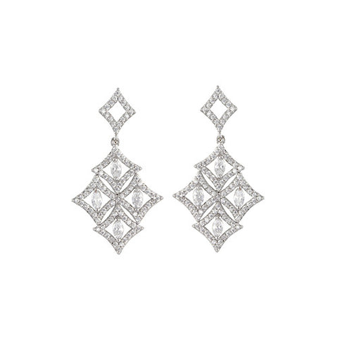 SILVER DIAMOND DROP GEOMETRIC EARRINGS