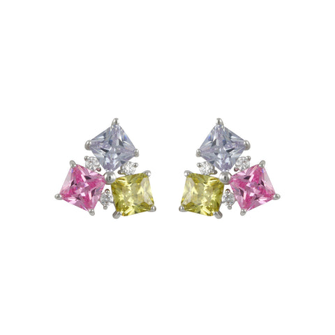 PERIDOT MULTI COLOR DIAMOND STUD EARRINGS