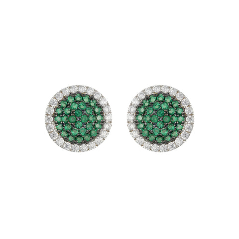 SILVER EMERALD CZ DIAMOND PAVE STUD EARRINGS FASHION JEWELRY
