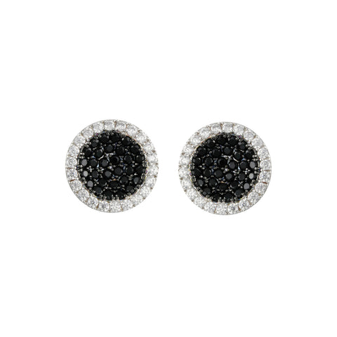 ABIGAIL'S<BR>BLACK PAVE STUD EARRINGS