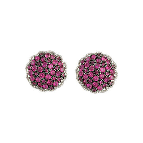 SILVER RUBY PAVE DIAMOND STUDDED EARRINGS