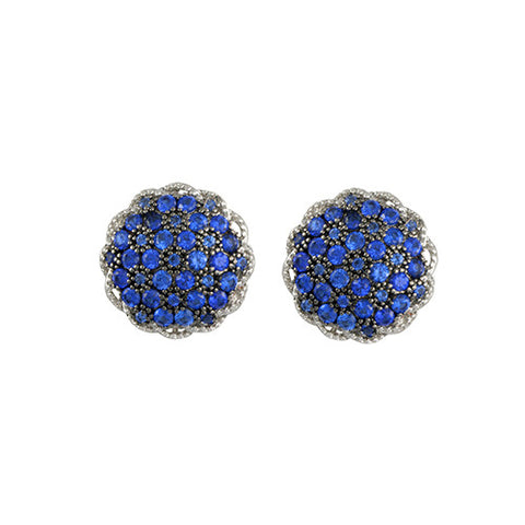 SILVER SAPPHIRE PAVE STUD DIAMOND EARRINGS