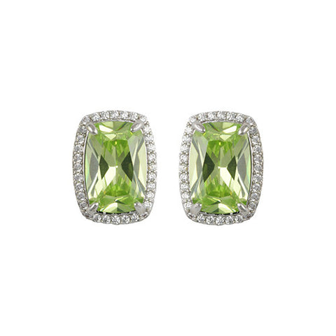 SILVER GREEN DIAMOND RECTANGULAR EARRINGS