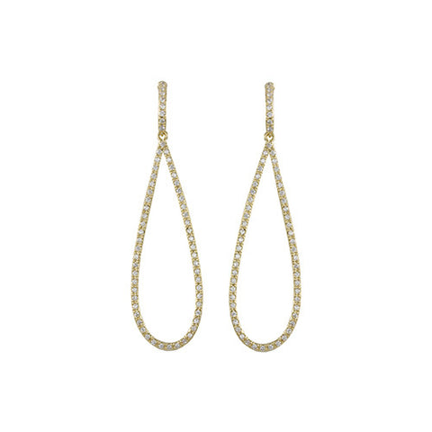 GOLD DIAMOND STUDDED TEARDROP EARRINGS
