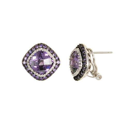 DESIGNER AMETHYST EARRING STUDS CZ JEWELRY DIAMONDS
