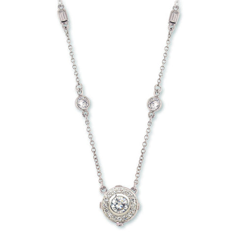 SILVER HALO NECKLACE BAGUETTES FASHION JEWELRY CZ DIAMONDS