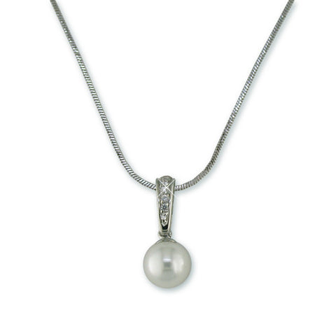 SINGLE PEARL SILVER NECKLACE DIAMOND CZ ACCENTS
