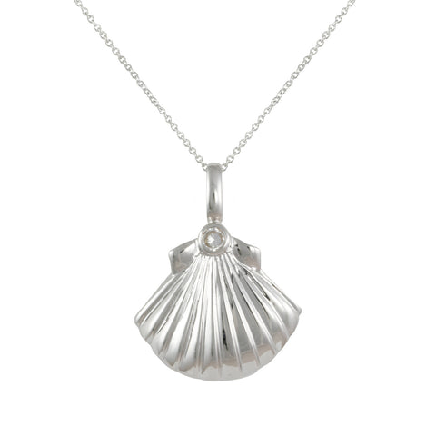 SILVER SEALIFE SEASHELL PENDANT NECKLACE OCEAN SUMMER JEWELRY