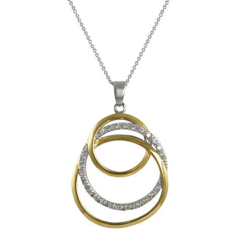 TWO TONE GOLD SILVER INTERLOOPING CIRCLES NECKLACE