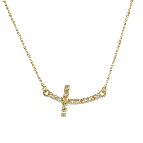 ESTEPHANIA'S<BR>GOLD SIDEWAYS CROSS NECKLACE