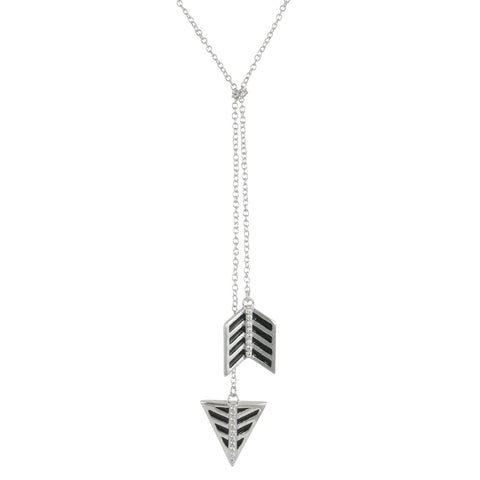 SILVER DANGLING ARROW LONG NECKLACE