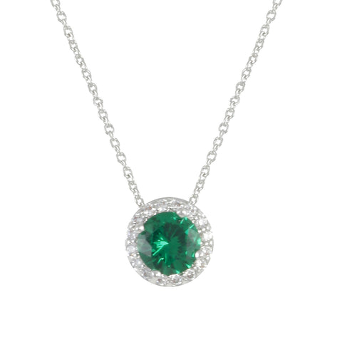 SILVER EMERALD BIRTHSTONE NECKLACE PENDANT FASHION ACCESSORY