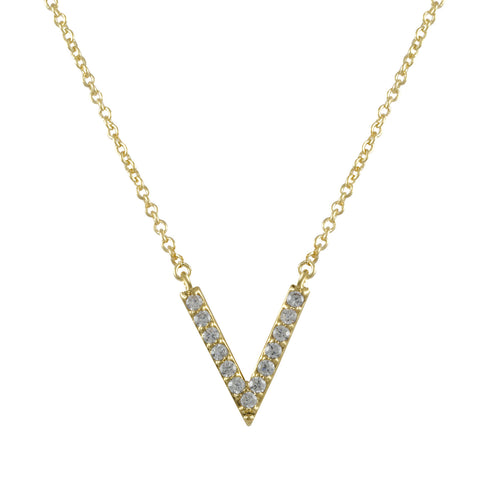 GOLD DIAMOND V PENDANT LAYERED NECKLACE