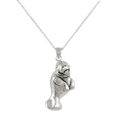 SILVER MANATEE SEA LIFE PENDANT NECKLACE