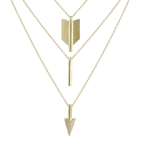 GOLD TRIPLE LAYER ARROW NECKLACE