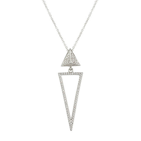 DIAMOND OPEN TRIANGLE GEOMETRIC JEWELRY NECKLACE