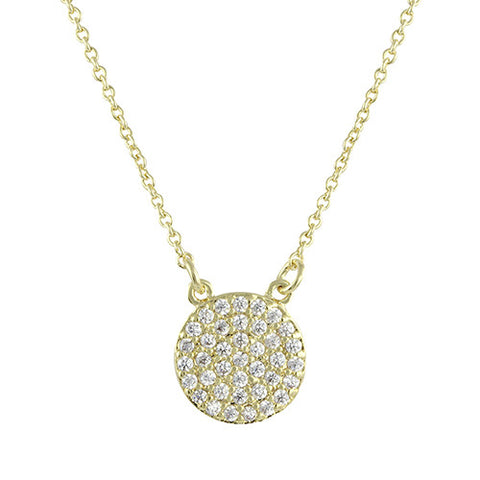 GOLD PAVE DIAMOND ROUND PENDANT NECKLACE
