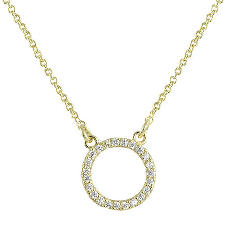 MINIMALIST GOLD OPEN CIRCLE DIAMOND NECKLACE