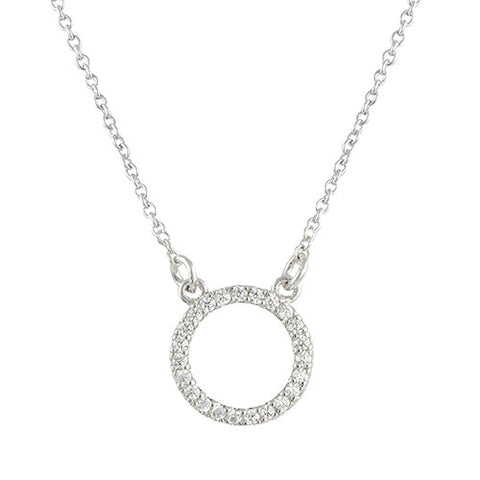 SILVER MINIMALISTIC OPEN CIRCLE DIAMOND NECKLACE