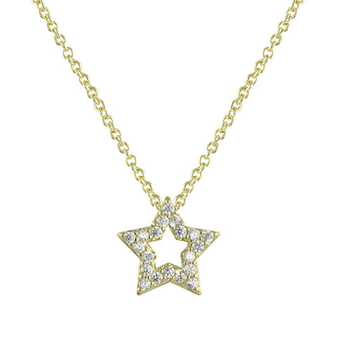 GOLD OPEN STAR DIAMOND PENDANT NECKLACE
