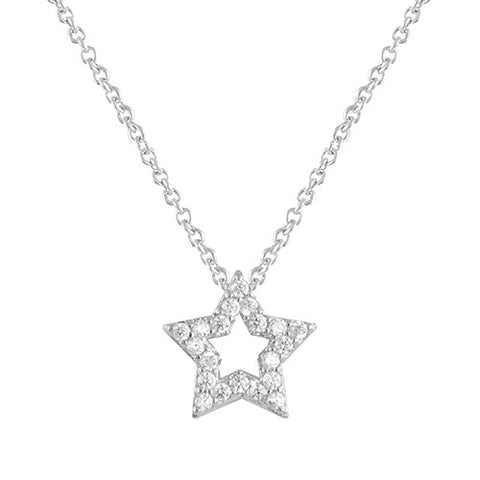 SILVER DIAMOND STAR PENDANT LAYERING NECKLACE