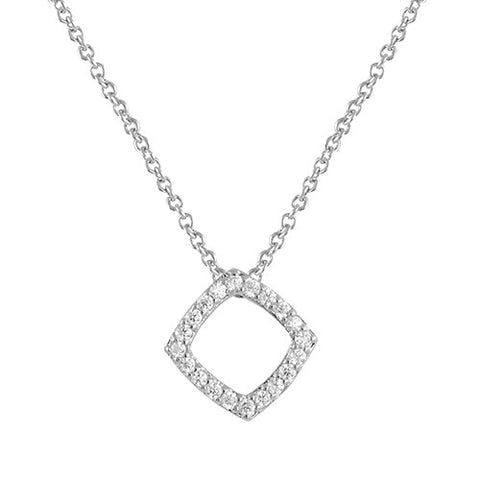 SILVER OPEN DIAMOND PENDANT NECKLACE