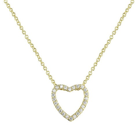 GOLD DIAMOND OPEN HEART PENDANT NECKLACE FASHION JEWELRY