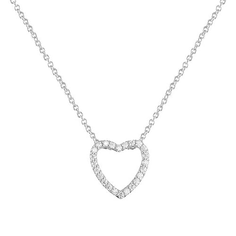 SILVER OPEN HEART DIAMOND PENDANT NECKLACE