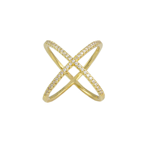 GOLD DIAMOND CROSSED MIDI RING JEWELRY