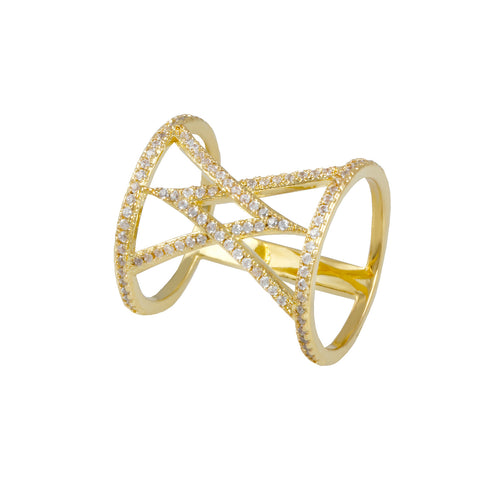 "LACEY'S<BR>GOLD OVERLAPPING ""V"" RING"