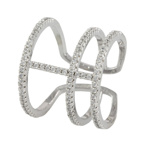 SILVER TRIPLE BAND STACKABLE MIDI DIAMOND RING