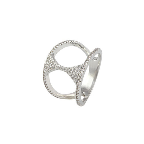 SILVER DIAMOND HOURGLASS STACKABLE MIDI RING