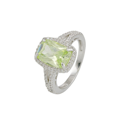 SILVER GREEN DIAMOND RECTANGULAR RING