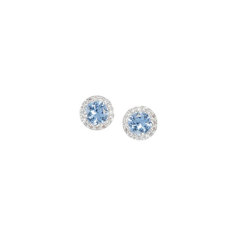 SILVER MARCH BLUE BIRTHSTONE STUD EARRINGS CZ DIAMONDS
