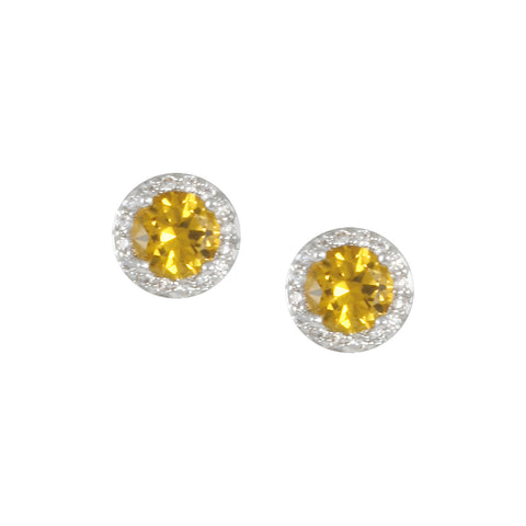 IRELAND'S<BR>CITRINE STUD EARRINGS