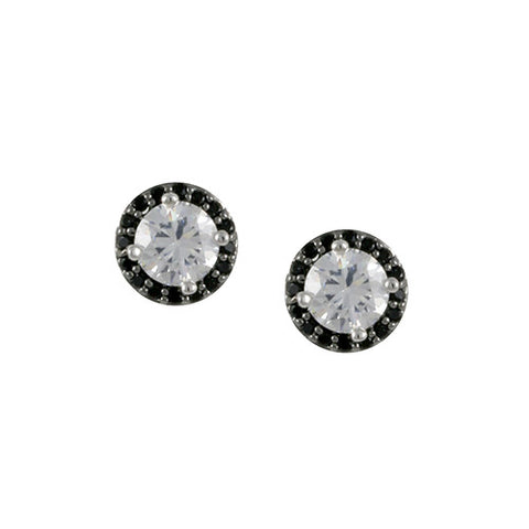 BLACK AND WHITE DIAMOND CZ STUD EARRINGS FASHION JEWELRY