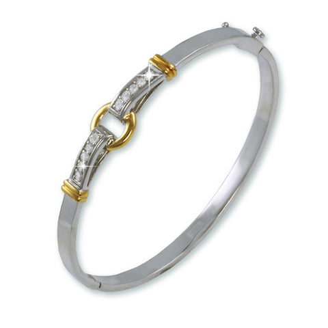 TWO TONE GOLD SILVER BANGLE BRACELET CZ DIAMONDS
