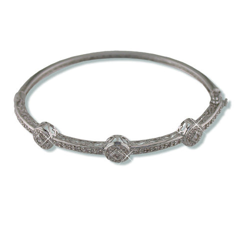 SILVER CZ DIAMOND PAVE BANGLE BRACELET