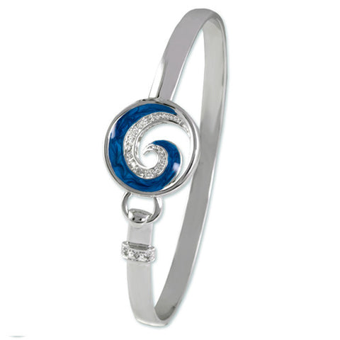 SILVER BLUE CZ DIAMOND WAVE PEARL BANGLE BRACELET