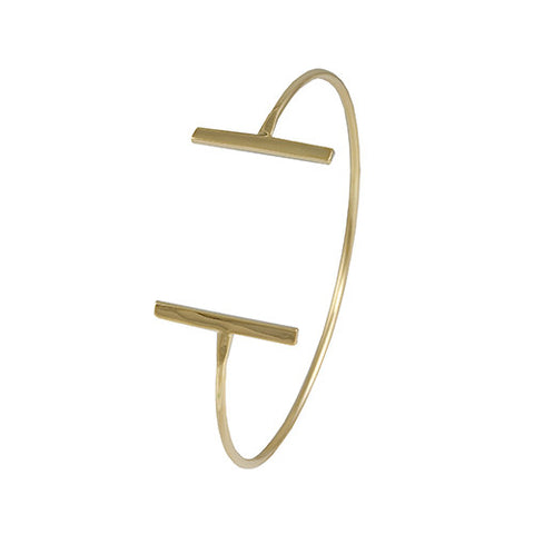 GOLD OPEN CUFF BANGLE LAYERED BRACELET