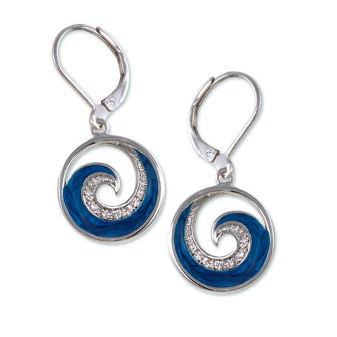 SILVER BLUE WAVE PEARL EARRINGS CZ DIAMONDS