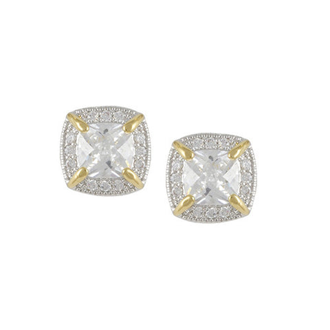 2 TONE GOLD SILVER ANTIQUE SQUARE DIAMOND EARRINGS CZ JEWELRY