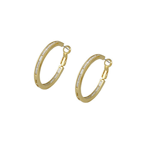 GOLD DIAMOND BAGUETTES HOOP EARRINGS FASHION JEWELRY